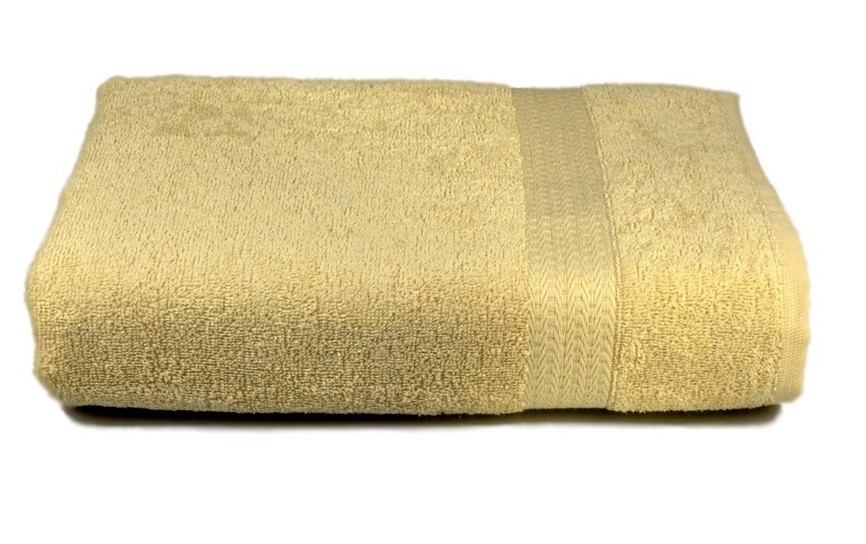 Полотенце махровое с бордюром 50х90 кремовое 350 г/м²