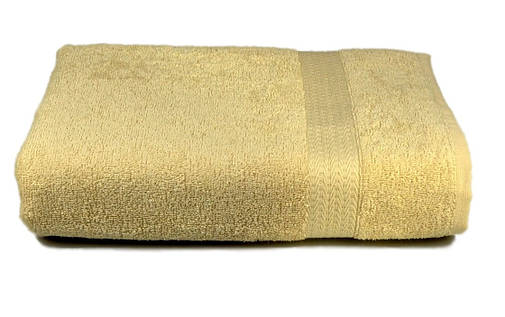 Полотенце махровое с бордюром 50х90 кремовое 350 г/м², фото 2