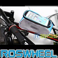 Велосипедная сумка на раму для смартфона Roswheel Серо-Синяя