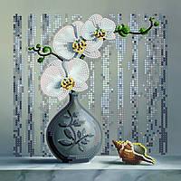 """Набір для вишивання бісером, картина """"Орхідея"""" полотно 20*20 см"""