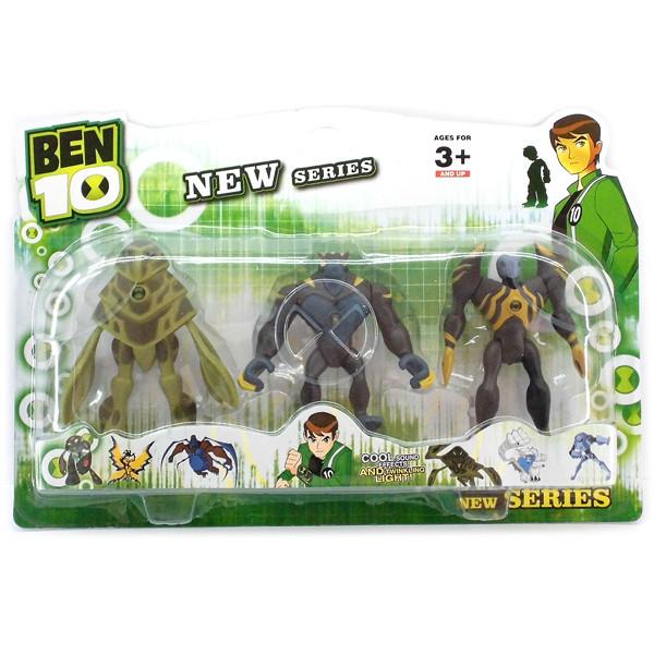 Ben ten Бен Тен 3 светящиеся фигурки 5 серии - Амфибия+Робот+ Гумангозавр