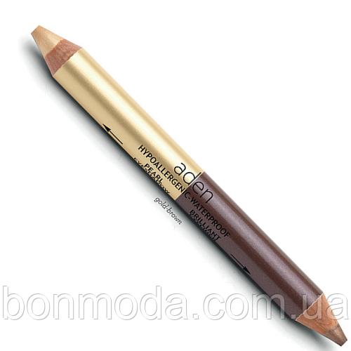 """Тени-карандаш для глаз золотые и коричневые Aden Eyeshadow """"Gold-Brown"""" № 02"""