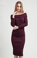 Модное платье с обнаженными плечами, приталенного силуэта
