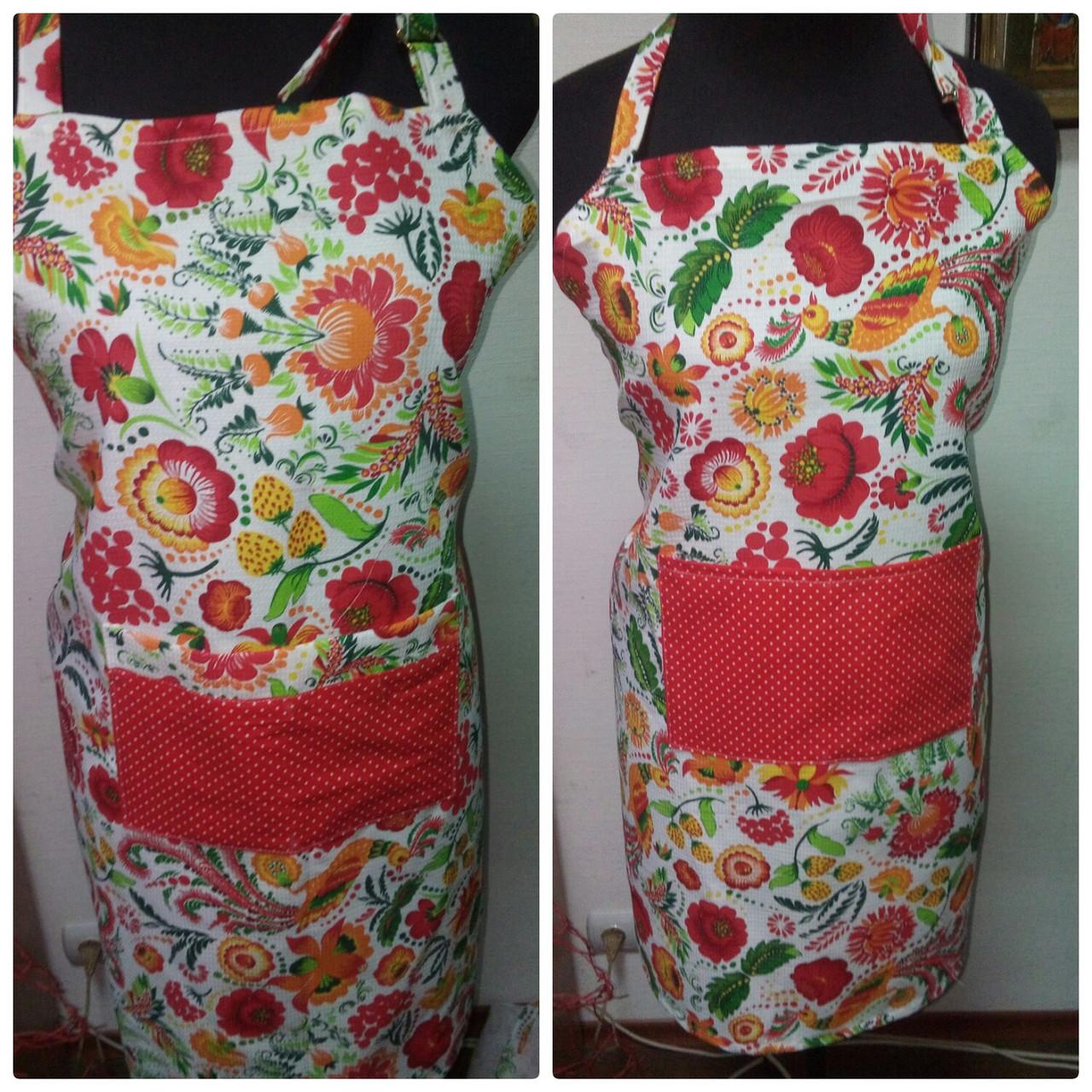Фартук  кухонный Vikamade женский вафельная модель с карманам.