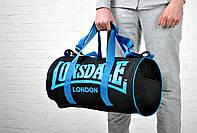 Сумка Lonsdale Barrel Bag черная синий лого / Lonsdale