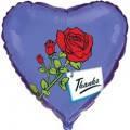Фольгована кулька серце синє з трояндою