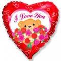 Фольгована кулька серце ведмедик з трояндами