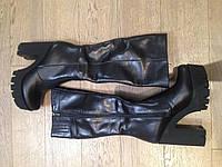 Зимний сапог на каблуке натуральная кожа