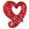 Фольгована кулька серце з троянами 88см