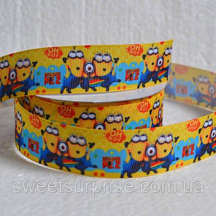 Лента репсовая декоративная 25 мм (Миньоны), фото 2