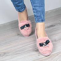 Мокасины балетки женские MiMi кролик розовые, осенняя обувь