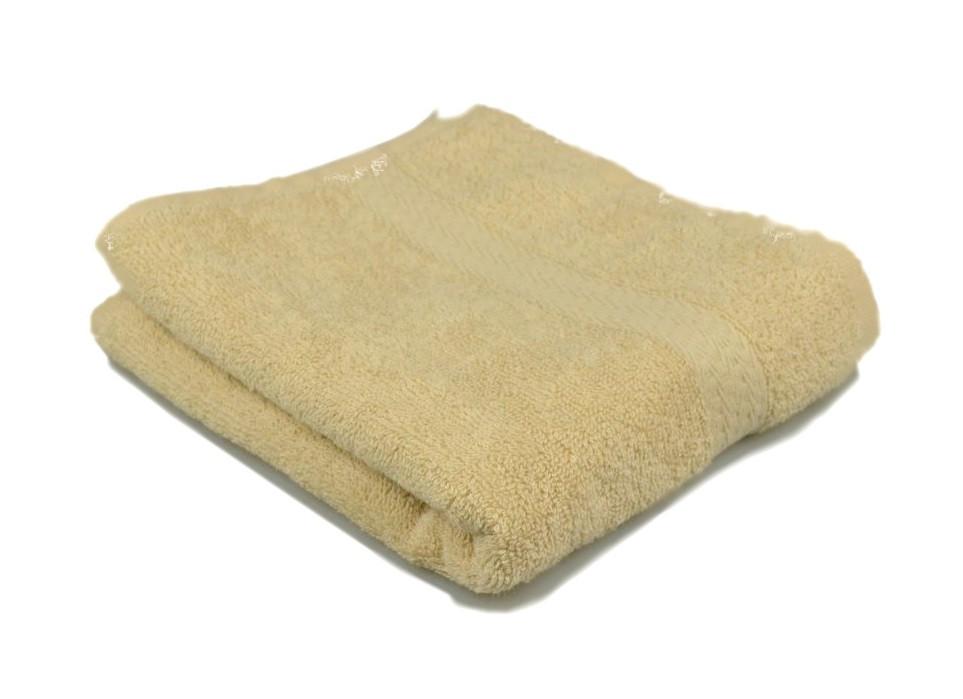 Полотенце махровое с бордюром 40х70 кремовое 350 г/м²
