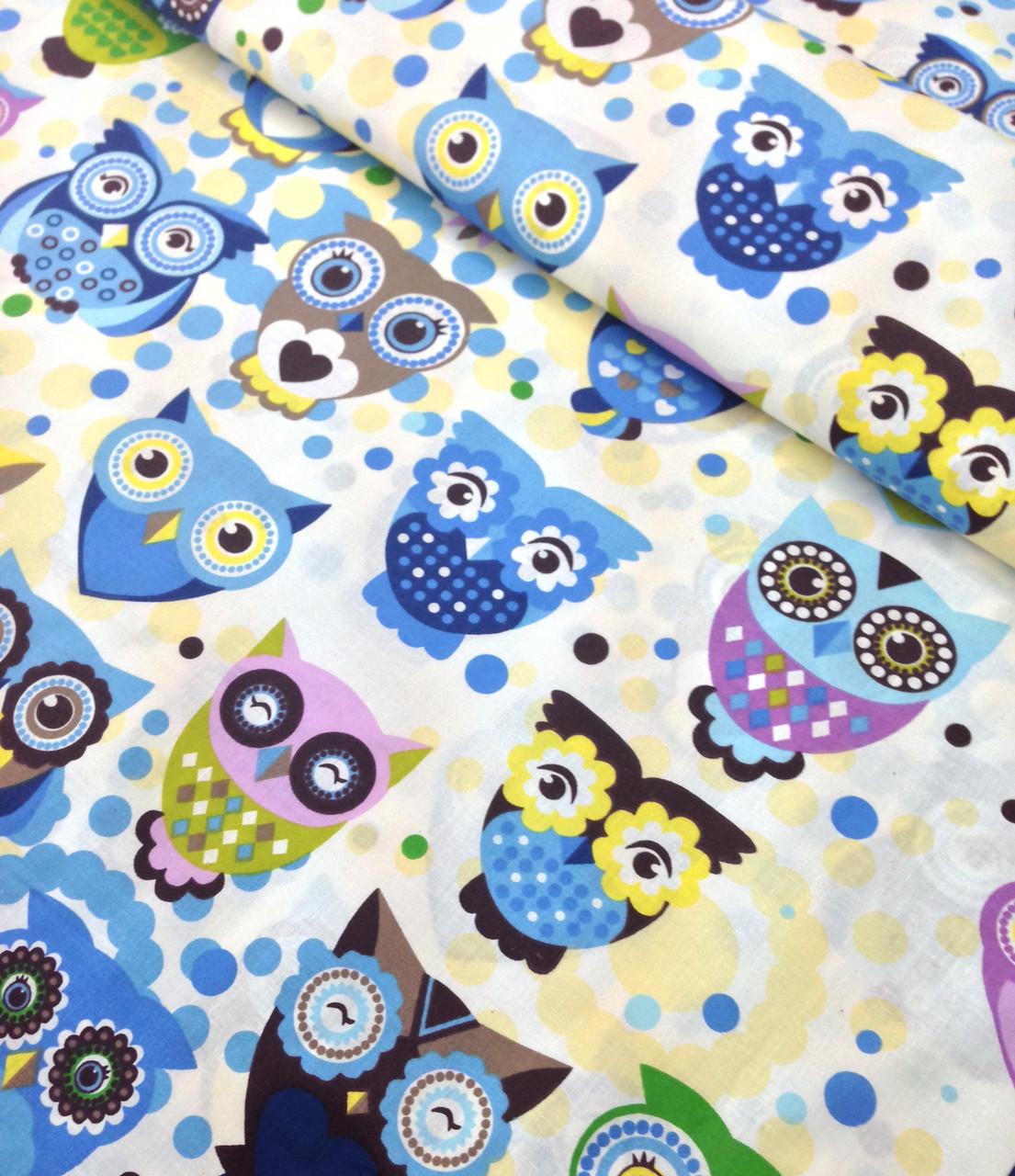Хлопковая ткань польская с индийскими совами в голубых тонах