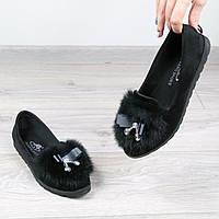 Балетки женские MiMi кролик черные, туфли женские