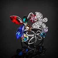 Зажим держатель для платков Бабочка красный, синий, зеленый-кристаллы, стразы 3,5х3,2х2,8см
