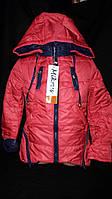 Девичья красная куртка (демисезонная), рост 110-128 см., 550/480 (цена за 1 шт. + 70 гр.)