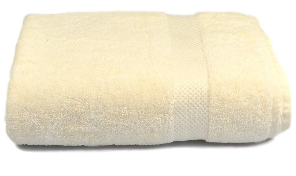 Полотенце махровое с бордюром 70х140 кремовое 500 г/м²