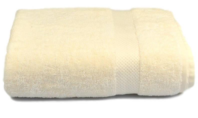 Полотенце махровое с бордюром 70х140 кремовое 500 г/м², фото 2