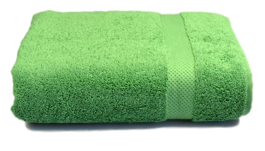 Полотенце махровое с бордюром 70х140 зелёное 500 г/м²
