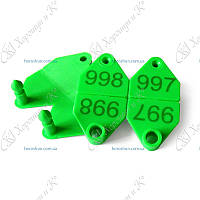 Ушная бирка номерная двойная зеленая 66*34мм