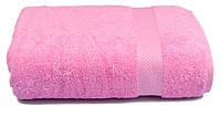 Полотенце махровое с бордюром 70х140 розовое 500 г/м²