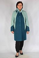 Комбинированное двухцветное пальто большого размера на пуговицах