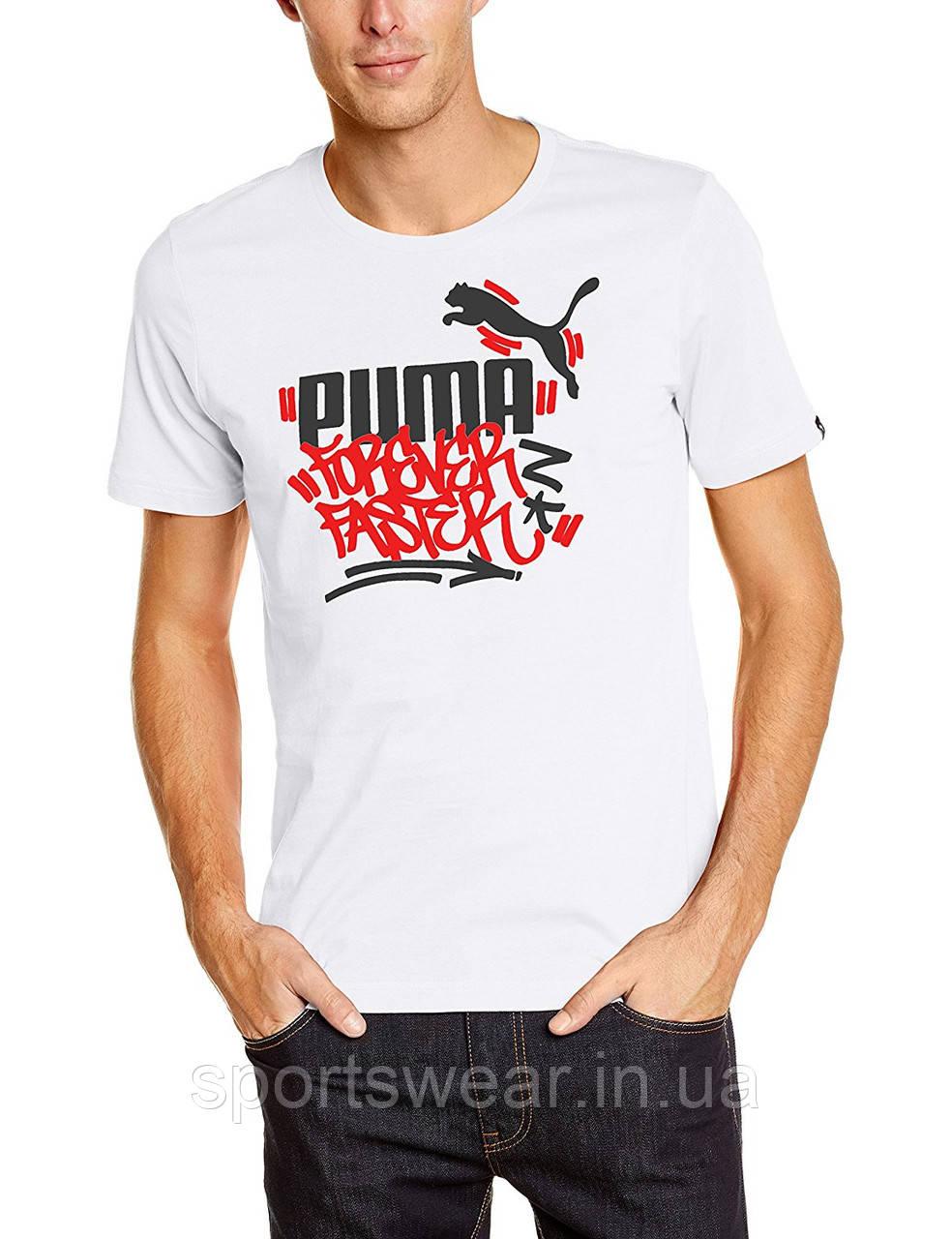 """Футболка белая  Puma Forever Faster мужская """""""" В стиле Puma """""""""""