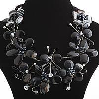 Комплект Бабочки серьги и колье из черного агата с прожилками на магнитной застежке в стразах