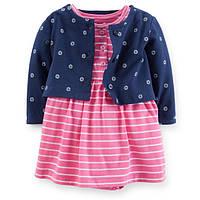 Платье бодик с болеро Carters розовое полоска, Размер 24м, Размер 24м