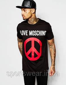 """Мужская   черная  Футболка  Love Moschino With Peace  Пис """""""" В стиле Love Moschino """""""""""