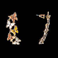 """Серьги-пуссеты """"Гирлянда из бабочек"""" \эмаль пастэльных тонов\металл под """"золото"""" \20×15mm"""
