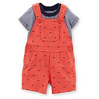 Комплект Carters комбинезон шортики и футболка Машинки, Размер 9м, Размер 9м