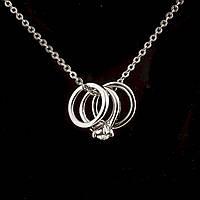 Кулон на цепочке Помолвочные кольца цвет металла серебро  р-р подвески Ø 1 см