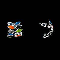 Серьги-пусеты в форме полумесяца из разноцветных лепестков, со стразами \эмаль\под серебро \18*22мм