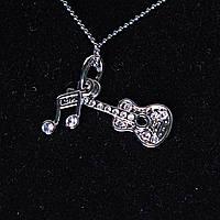 [15/10 мм] Кулон на цепочке Гитара с нотой блеск страза