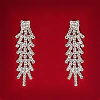 [48x15 мм] Серьги женские белые стразы светлый металл свадебные вечерние гвоздики (пуссеты) китайский дворец длинные