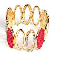 [5-6см] Браслет женский, твердый, из овальных элементов, с четырьмя красными камнями, украшен фианитами