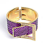 [6см] Браслет женский в виде ремня с пряжкой, инкрустированной камнями, фиолетовый
