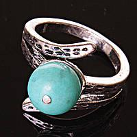 [17,18,19] Кольцо Голубая Бирюза на гвоздике завиток 19