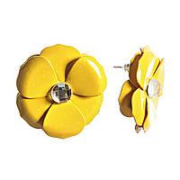 """Серьги-гвозди """"Цветок"""" лимонная эмаль со стразом, металл под """"серебро"""" Ø27mm"""