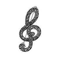 Брошь Скрипичный ключ со стразами, металл под серебро,40мм