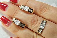 Гарнитур серебряных украшений спластинами золота