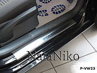 Volkswagen Polo 2001-2009 гг. Накладки на пороги Натанико (4 шт, нерж.) Стандарт - лента Lohmann, 0.5мм