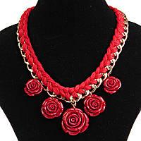 Ожерелье Розы красное полим. глина, цепь, текстиль