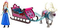 Disney Холодное сердце Анна и олень Свен с санями Frozen Anna Doll with Sleigh and Sven Gift Set