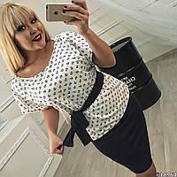 """Деловой летний женский костюм """"Морячка"""" юбка-карандаш и блуза с принтом (большие размеры)"""