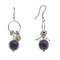 Серьги подвески с цветными мелкими и чёрной бусиной кошачий глаз на кольце,металл под серебро,45мм