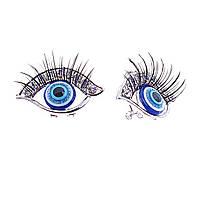 Серьги в виде глаз с ресницами, декорированы стразами, 30*20мм