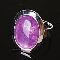 """Кольцо Аметист гладкая оправа плоская  """"М"""" овальный  камень 2,2*1,7см без р-р"""
