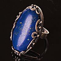 Кольцо без р-р  ажур овал крупное Лазурит